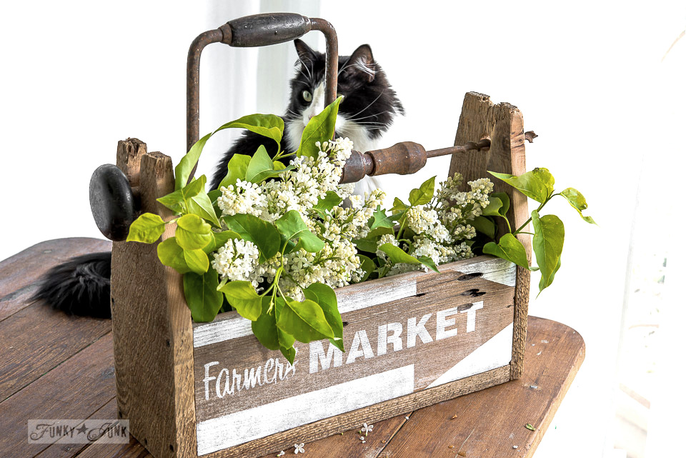 Reclaimed fence wood drill handled toolbox as a vase / FunkyJunkInteriors.net