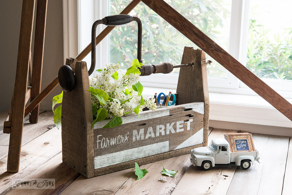 Reclaimed fence wood drill handled toolbox office organizer and flower vase / funkyJunkinteriors.net