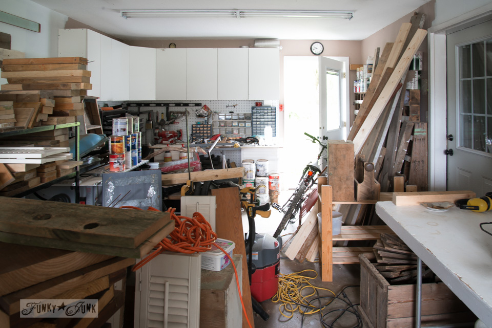 messy garage workshop