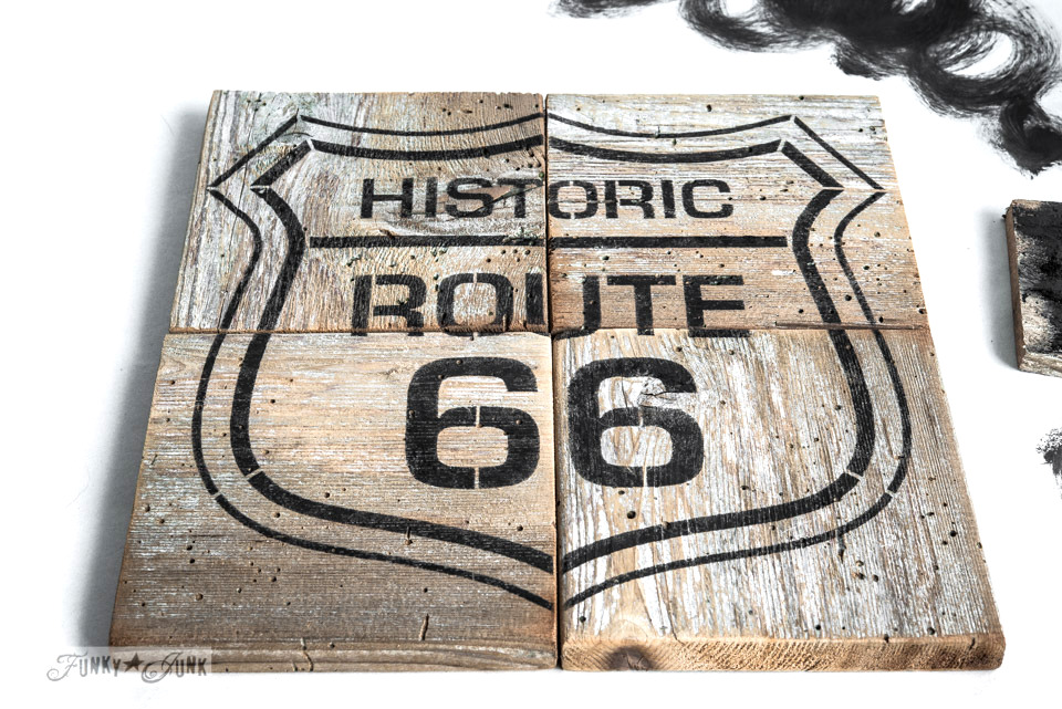 "10"" Route 66 stencil / Route 66 reclaimed wood puzzle coasters, made with Old Sign Stencils / FunkyJunkInteriors.net"