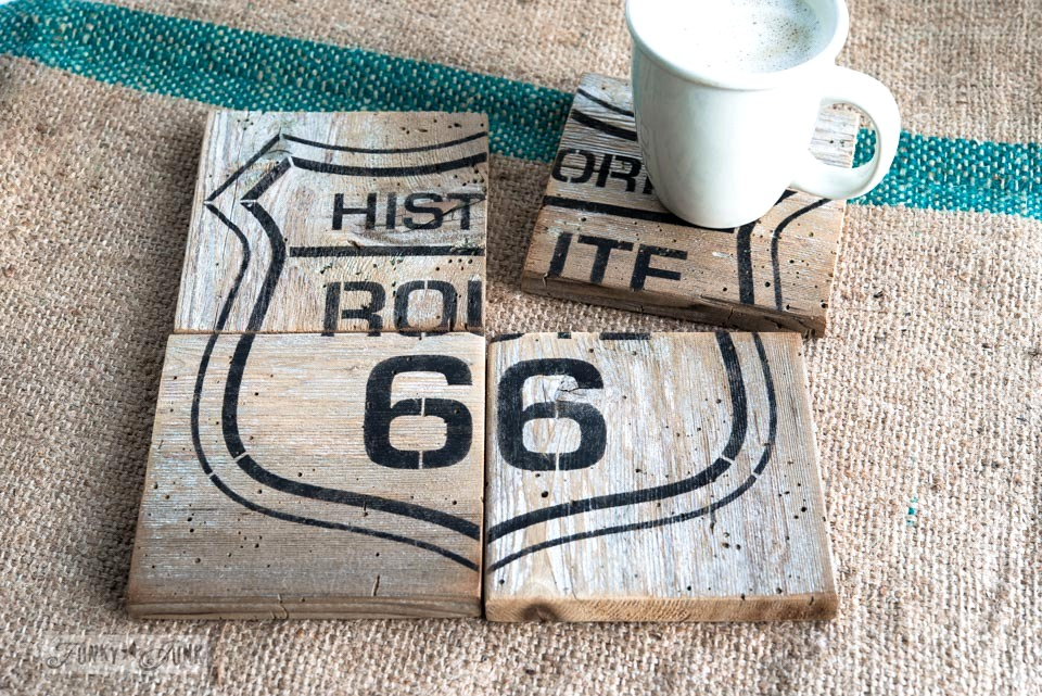 Route 66 reclaimed wood puzzle coasters / FunkyJunkInteriors.net