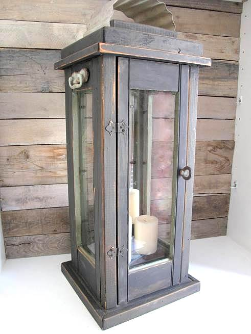 Upcycled shutters hurricane lamp / Scavenger Chic featured on Funky Junk Interiors