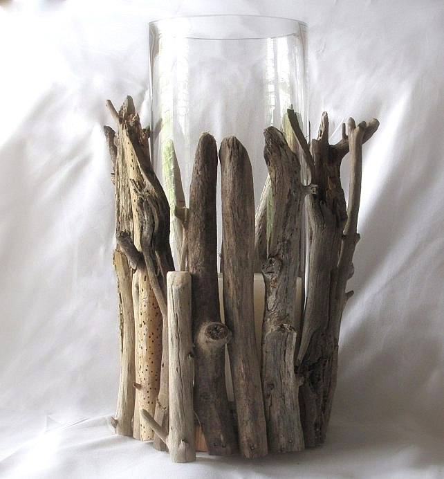 Easy driftwood hurricane candle / Scavenger Chic featured on Funky Junk Interiors