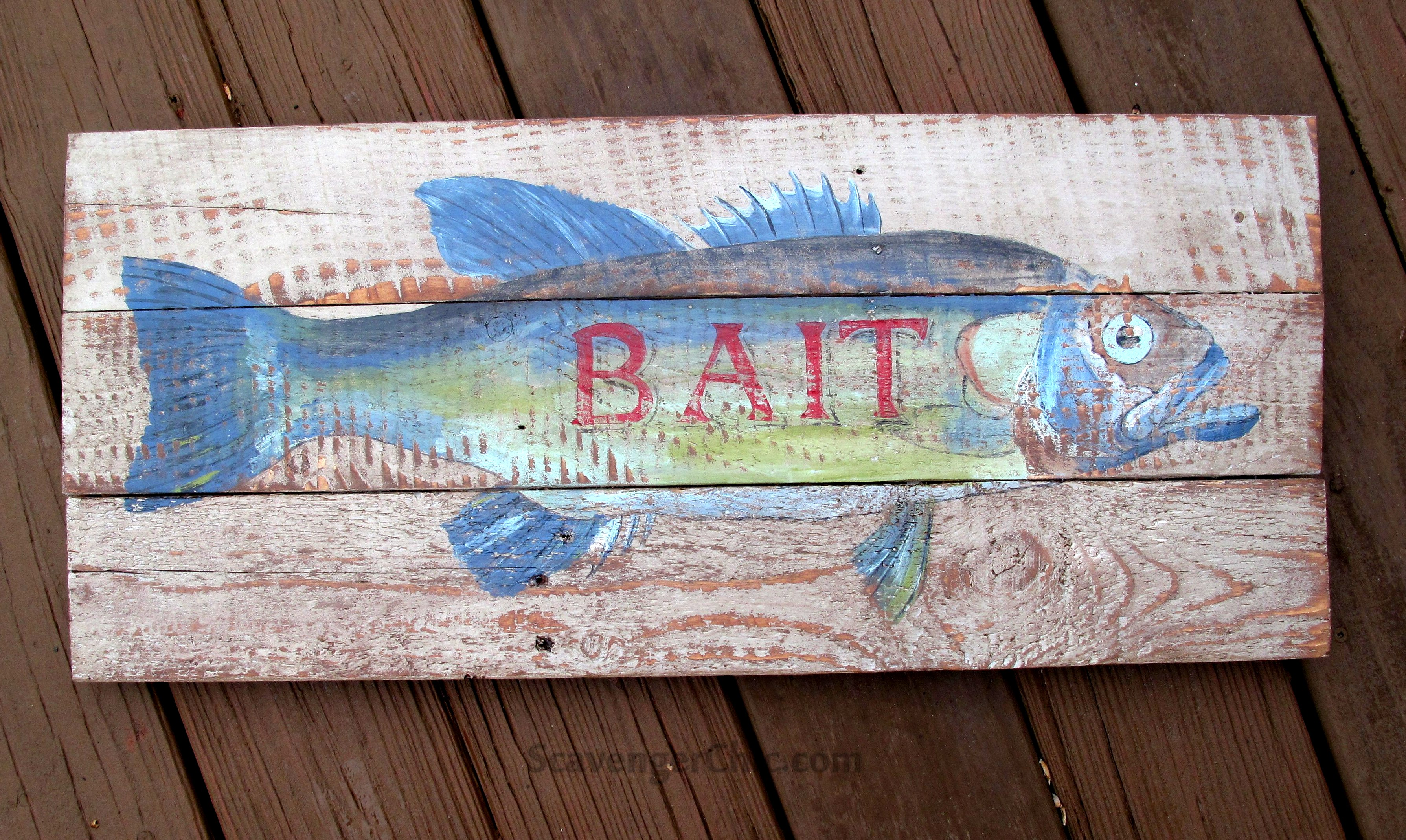 Hand painted fish sign by Scavenger Chic, featured on Funky Junk Interiors