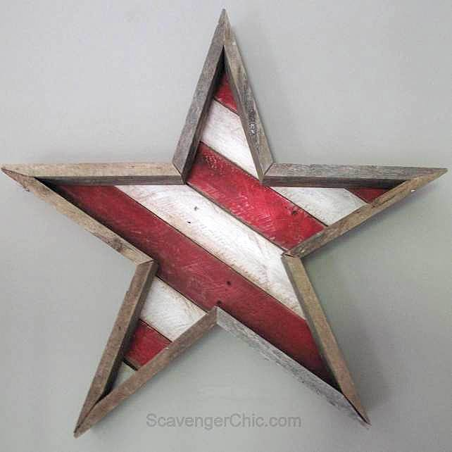 Patriotic reclaimed wood star by ScavengerChic, featured on Funky Junk Interiors
