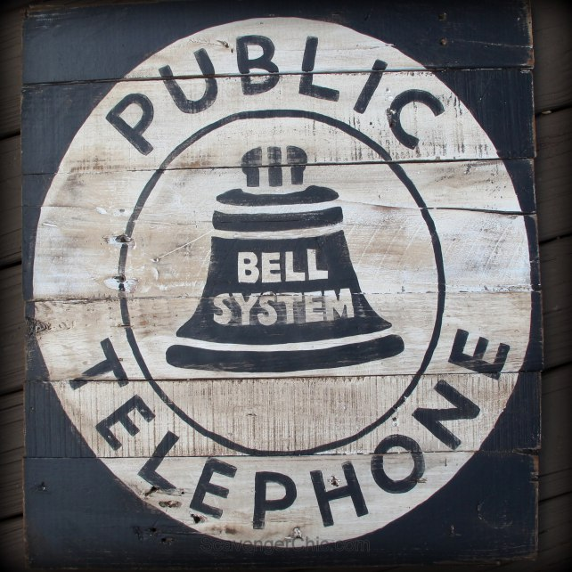 Scavenger Chic Public Telephone old sign, featured on Funky Junk Interiors