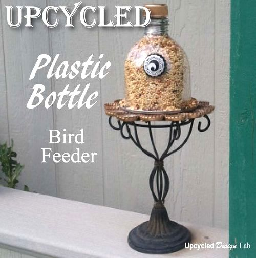 Upcycled plastic bottle bird feeder / Upcycled Design Lab featured on Funky Junk Interiors