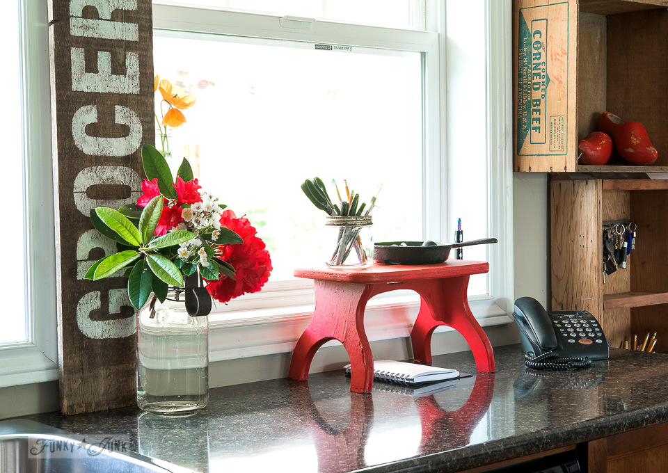 Little red bench phone station / Funky Junk's 2015 Summer Home Junk Tour / FunkyJunkInteriors.net