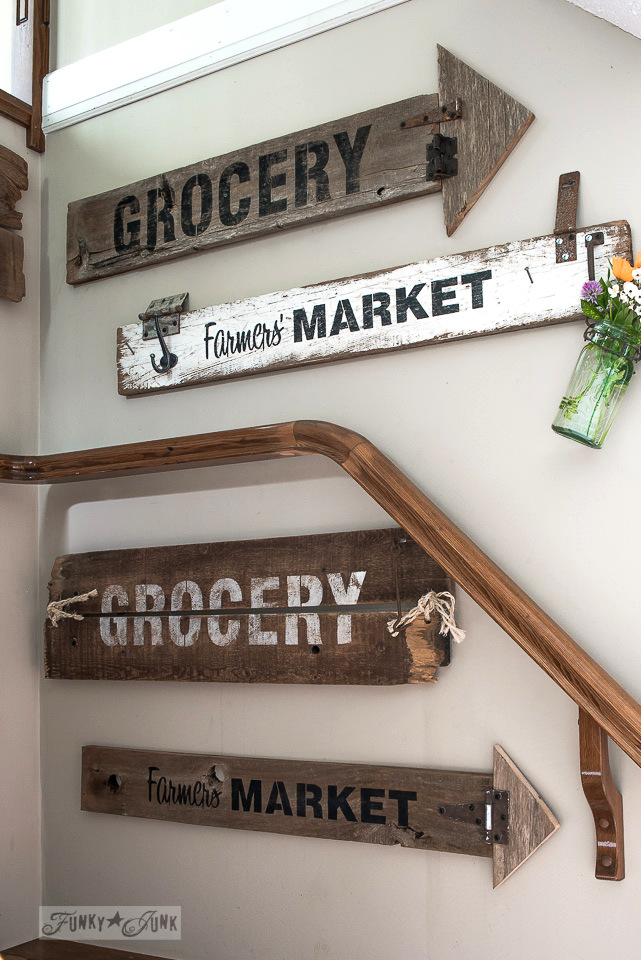 old sign wall gallery / Funky Junk's 2015 Summer Home Junk Tour / FunkyJunkInteriors.net