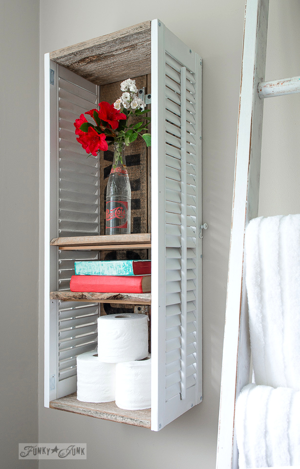 Bathroom shelf made from old shutters / funkyjunkinteriors.net
