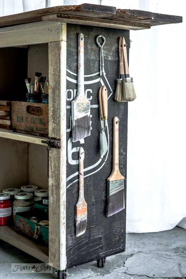 Paint brush storage on an antique paint cart with Fusion Mineral Paint and Old Sign Stencils / FunkyJunkInteriors.net