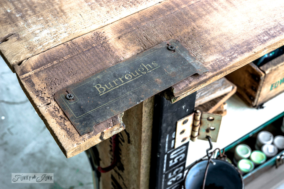 Rustic label on a reclaimed wood cart top / FunkyJunkInteriors.net