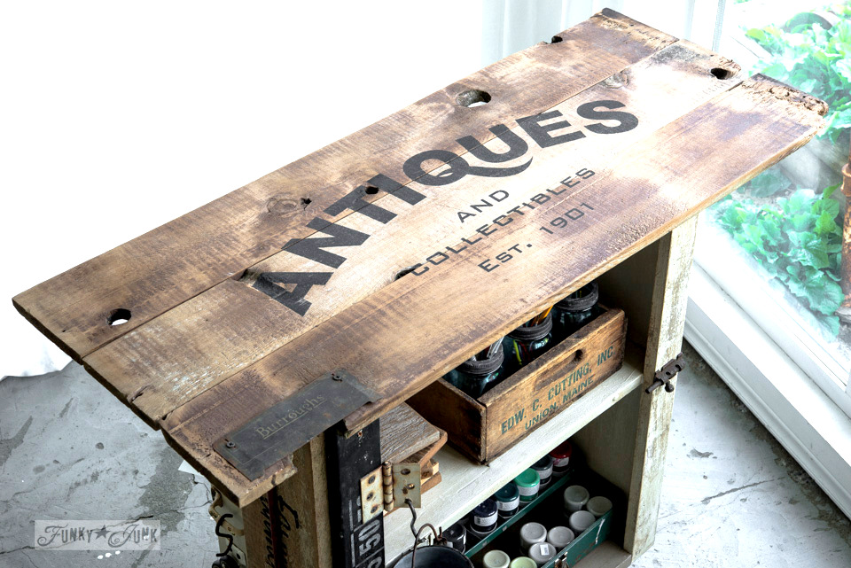 How to build an Antiques paint cart repurposed from an old cupboard. Click for full tutorial.