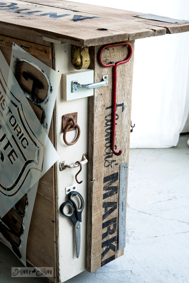 Rustic hooks on a Farmers' Market sign with Fusion Mineral Paint and Old Sign Stencils / FunkyJunkInteriors.net