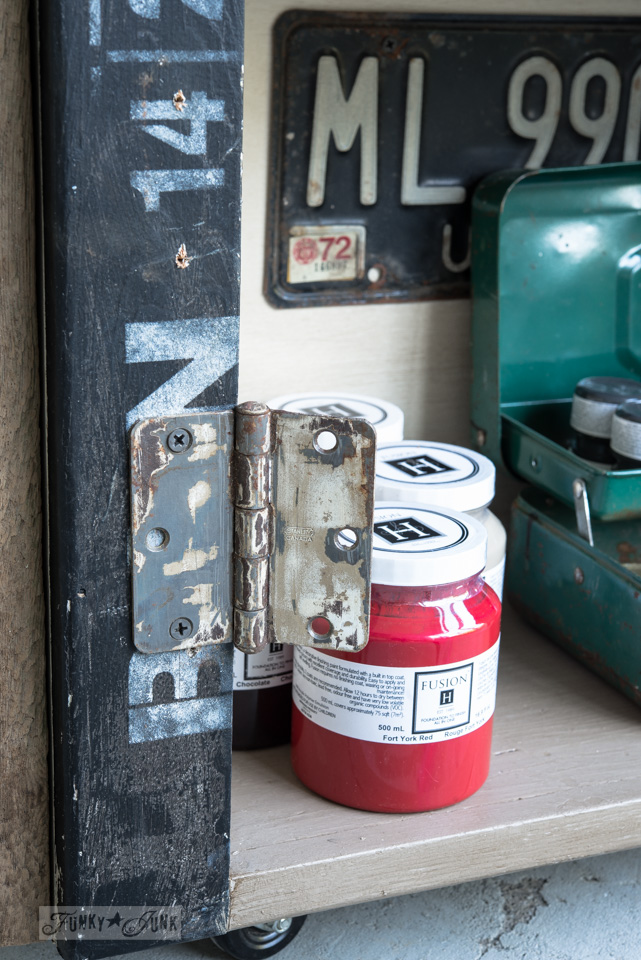 Rustic hinges on an antique paint and stencil cart / FunkyJunkInteriors.net