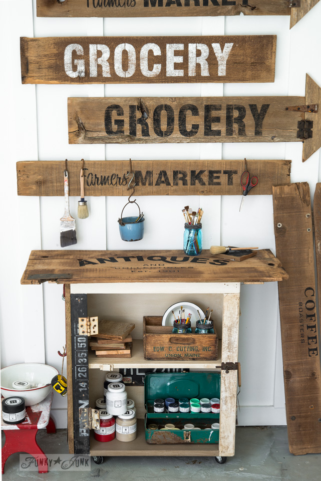Rustic paint cart  with Fusion Mineral Paint and Old Sign Stencils / FunkyJunkInteriors.net