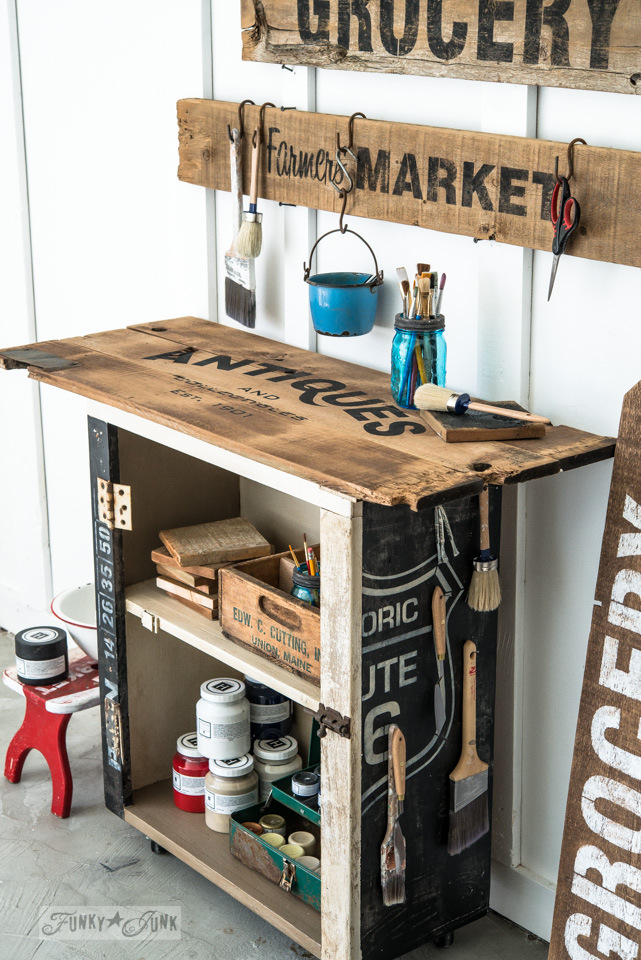 Repurposed cupboard turned paint cart featuring Funky Junk's Old Sign Stencils