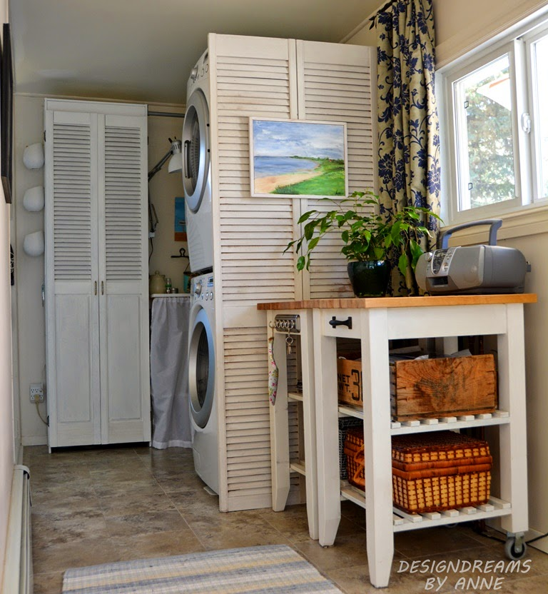 Shutters in a laundry room by Design Dreams by Anne, featured on Funky Junk Interiors