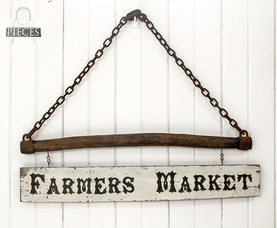 Prodigal Pieces Farmers Market sign featured on Funky Junk Interiors