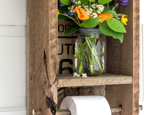 Route 66 rustic cabinet toilet paper shelf