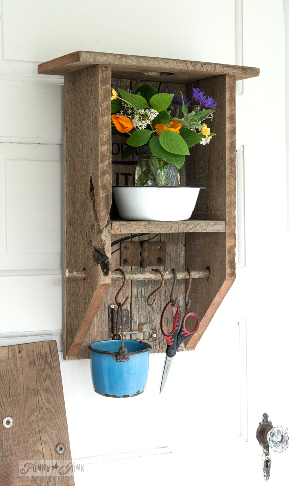 Craft and sewing organizing shelf / Learn how to make this rustic reclaimed wood branch shelf that's really... anything! Toilet paper holder, paint shelf, craft storage, plus! #funkyjunkinteriors #bathroom #toiletpaperholder #reclaimedwood #shelf #shelving #shelves