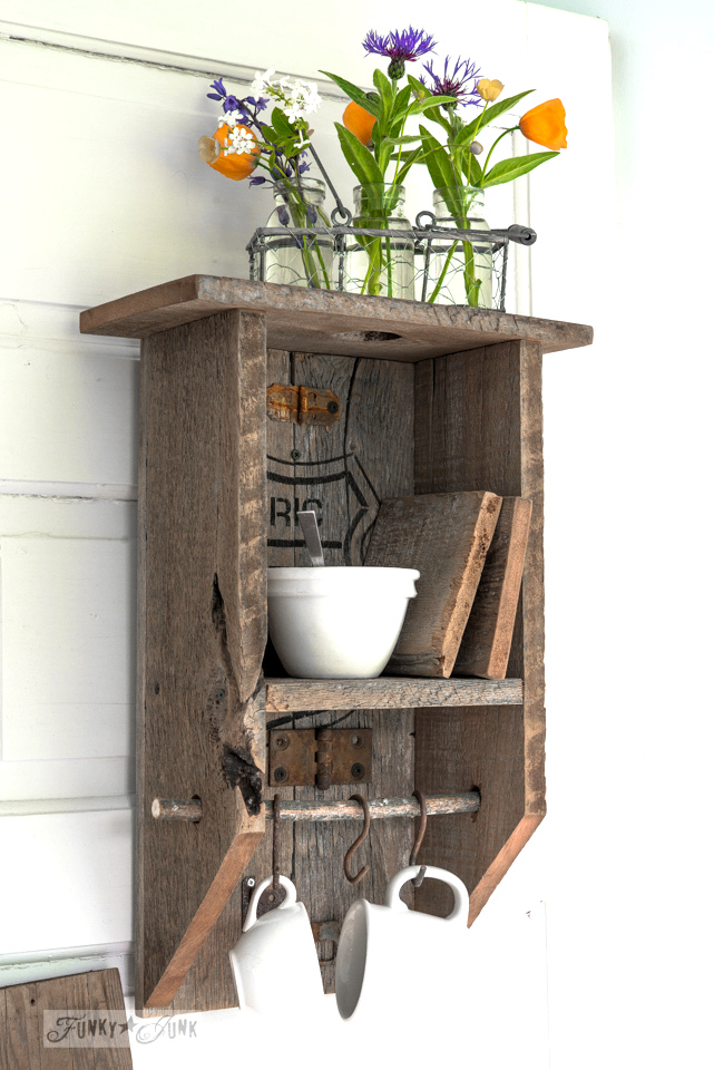 Coffee station shelf / Learn how to make this rustic reclaimed wood branch shelf that's really... anything! Toilet paper holder, paint shelf, craft storage, plus! #funkyjunkinteriors #bathroom #toiletpaperholder #reclaimedwood #shelf #shelving #shelves