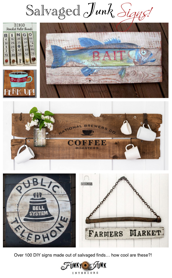 Salvaged Junk Signs on Funky Junk Interiors
