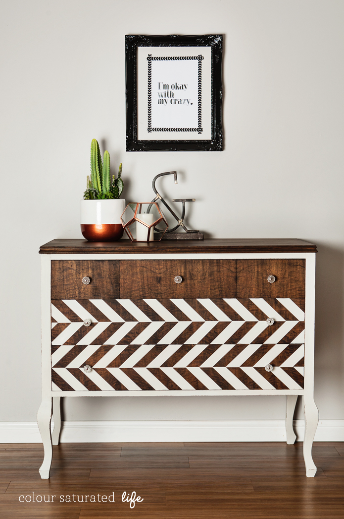Chevron with a twist on a dresser, by Colour Saturated Life, featured on Funky Junk Interiors
