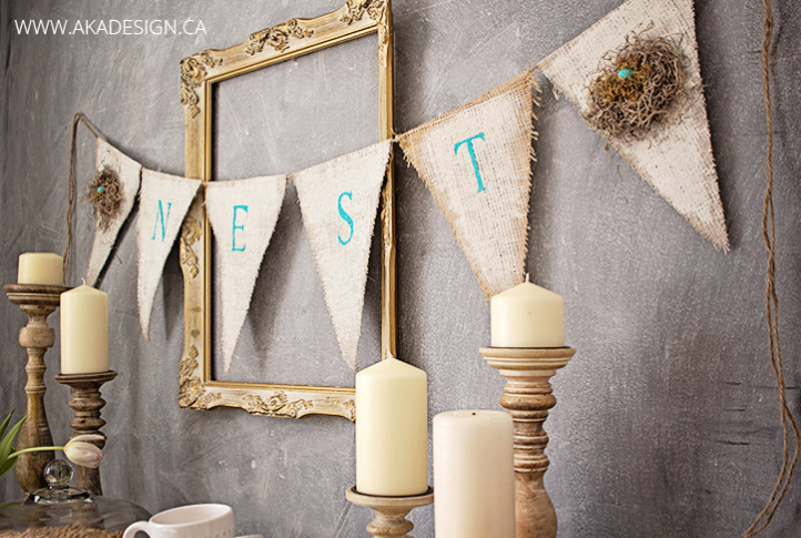 How to make burlap bunting / AKA Design featured on Funky Junk Interiors