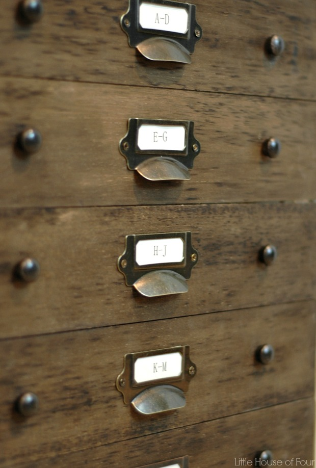 File cabinet to card file repurpose by Little House of Four, featured on Funky Junk Interiors
