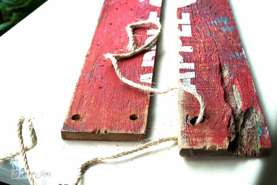 Intentional gap in the wood / Make this barn wood red rustic APPLE FARM sign with twine hinges / funkyjunkinteriors.net