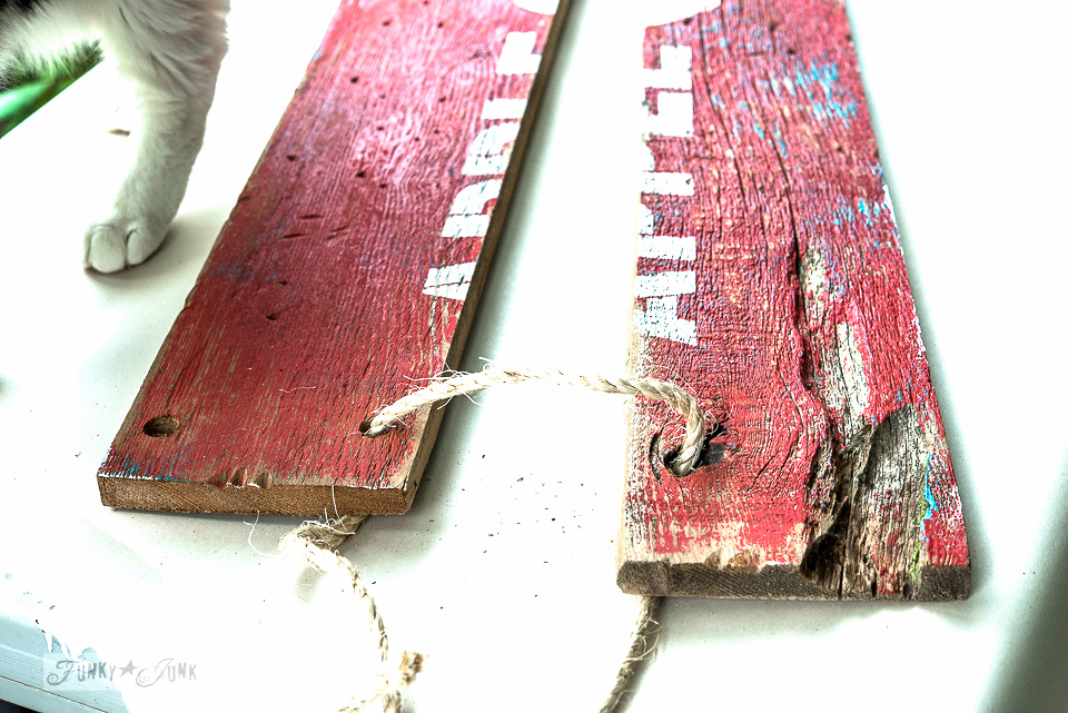 Tying the twine hinge / Make this barn wood red rustic APPLE FARM sign with twine hinges / funkyjunkinteriors.net