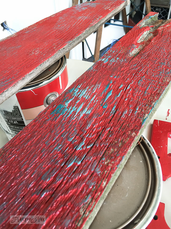 Creating barn wood red with Fusion Mineral Paint's Fort York Red / funkyjunkinteriors.net