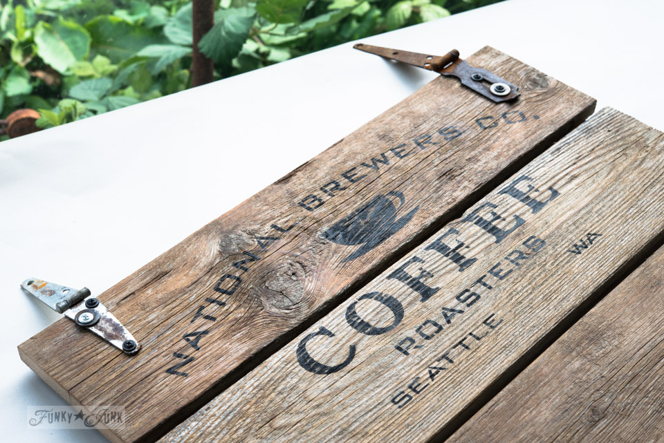 Learn how to make this rustic National Brewers Coffee station sign with reclaimed wood and a stencil! Add S hooks to hang mugs and rusty hinges to hang the sign. #funkyjunkinteriors #oldsignstencils #coffee #coffeesign #stencils