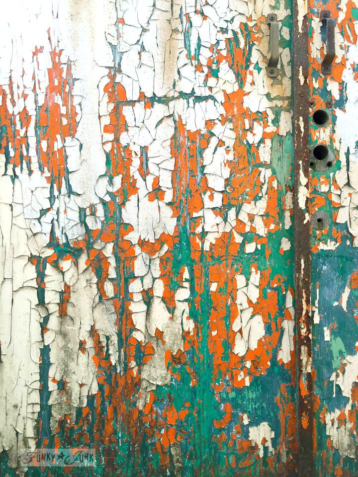 chippy barn doors of teal and orange / FunkyJunkInteriors.net