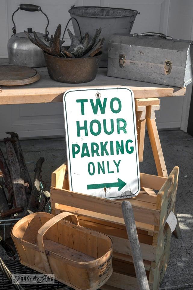 Parking sign, crates and baskets / Flea market and garage sale finds / FunkyJunkInteriors.net