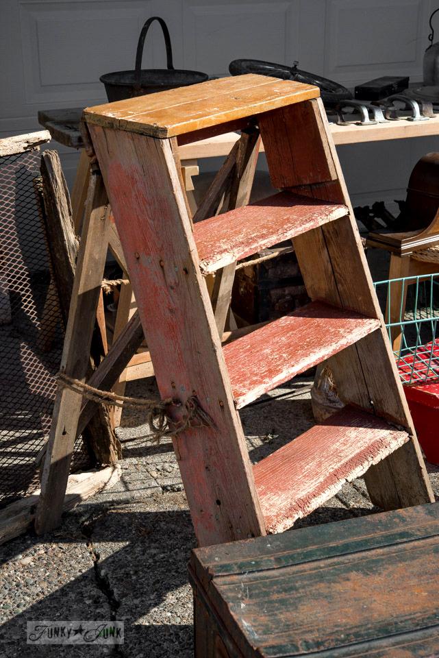 Old short red ladder / Flea market and garage sale finds / FunkyJunkInteriors.net