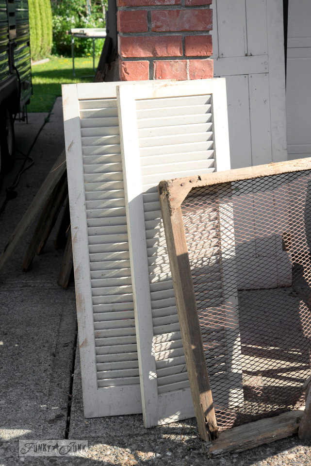 White antique shutters and soil sifter / Flea market and garage sale finds / FunkyJunkInteriors.net
