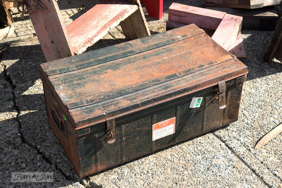 Rusty black metal trunk / Flea market and garage sale finds / FunkyJunkInteriors.net