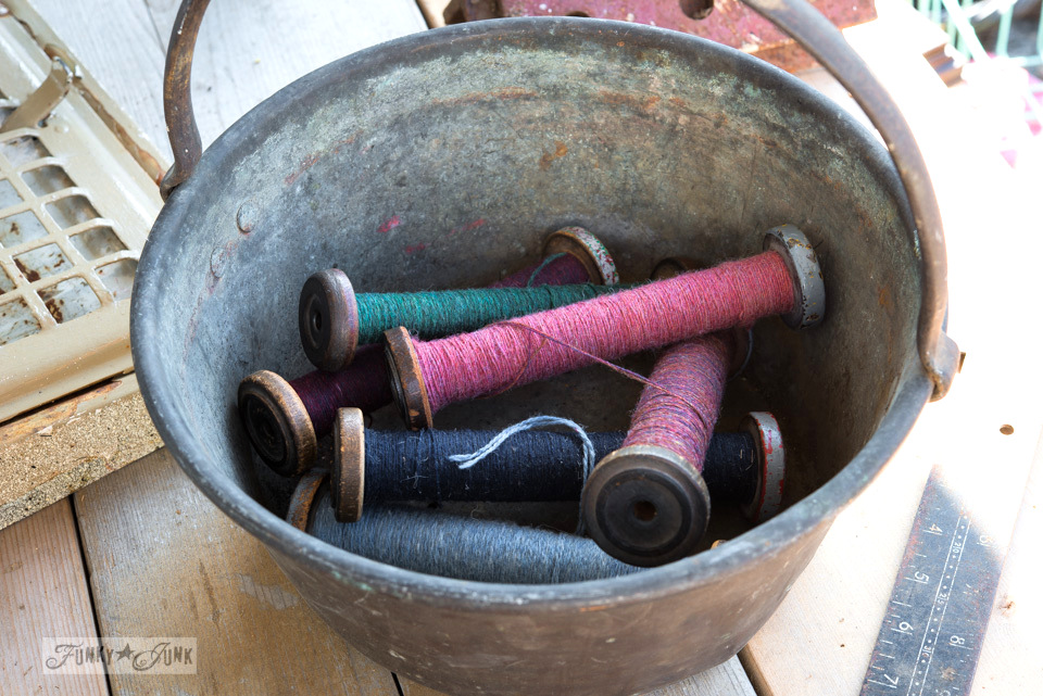 Antique wooden spools of thread / Flea market and garage sale finds / FunkyJunkInteriors.net