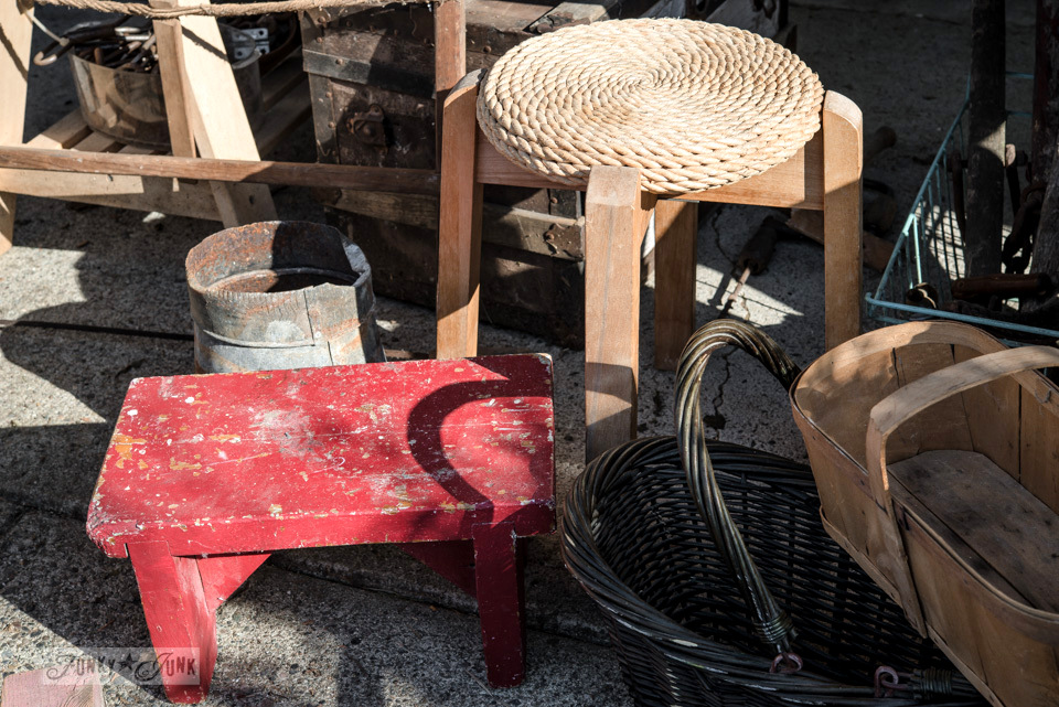 Red bench and twine topped stool / Flea market and garage sale finds / FunkyJunkInteriors.net