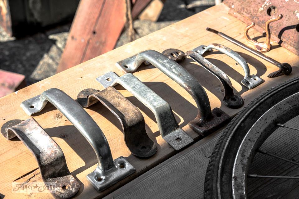 Rusty metal handles / Flea market and garage sale finds / FunkyJunkInteriors.net