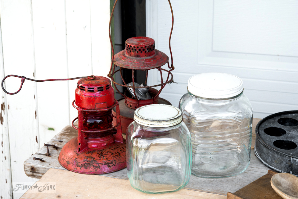 Red traffic lights and vintage glass jars / FunkyJunkInteriors.net