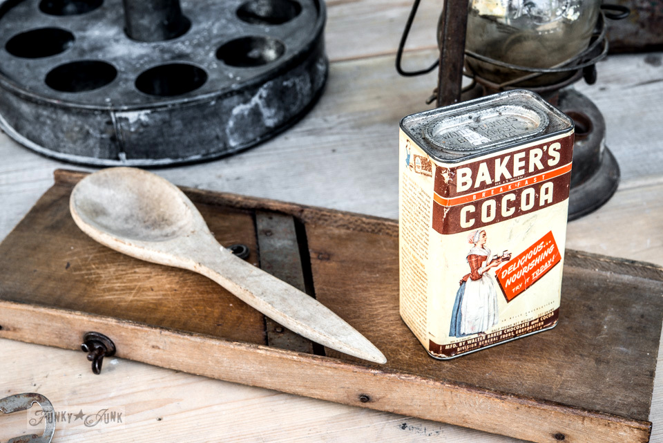 vintage Krout cutter and Bakers Cocoa antique tin / FunkyJunkInteriors.net