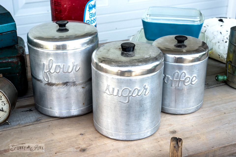 Vintage galvanized canister set  / FunkyJunkInteriors.net