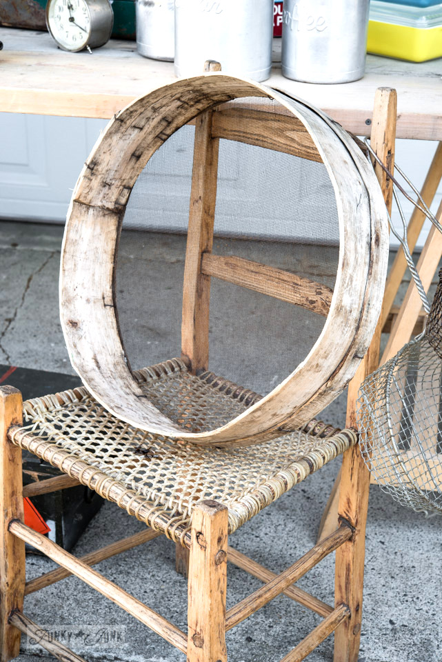 Vintage sifter and wooden hand carved chair / FunkyJunkInteriors.net