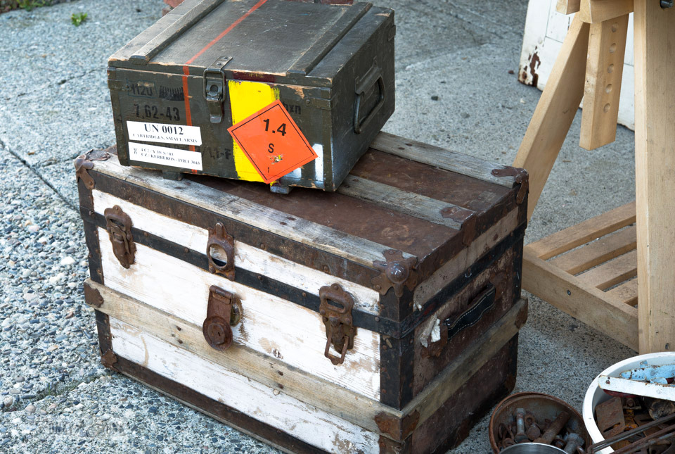Small white and rust trunk with ammunition crate / FunkyJunkInteriors.net