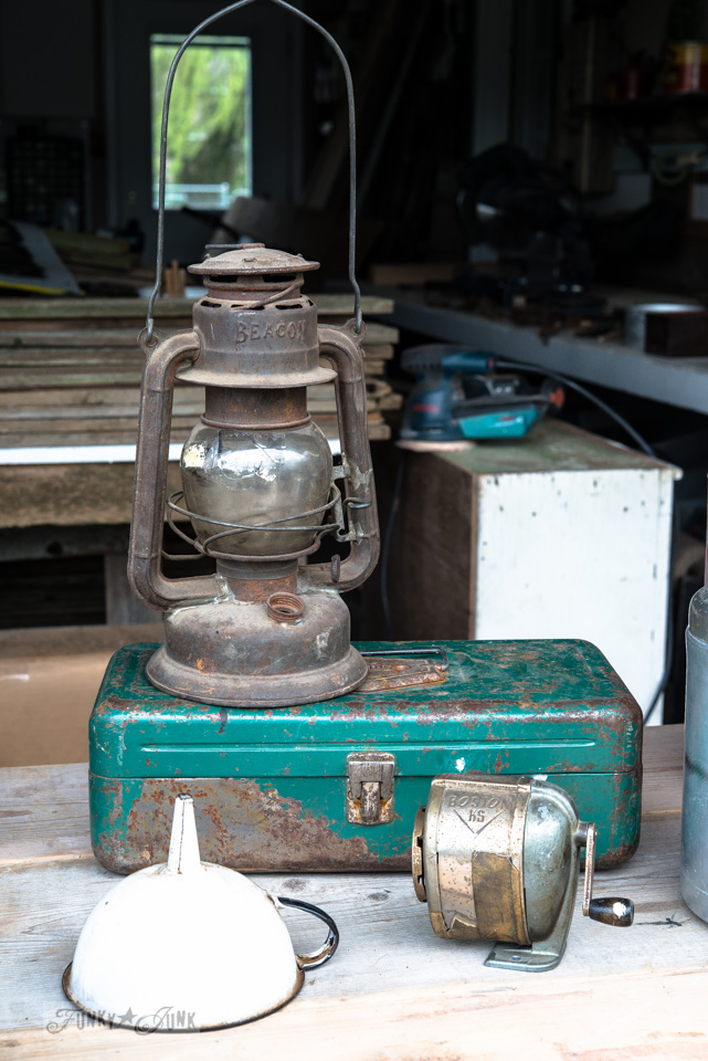 rusty lantern and teal metal toolbox / Vintage finds / FunkyJunkInteriors.net
