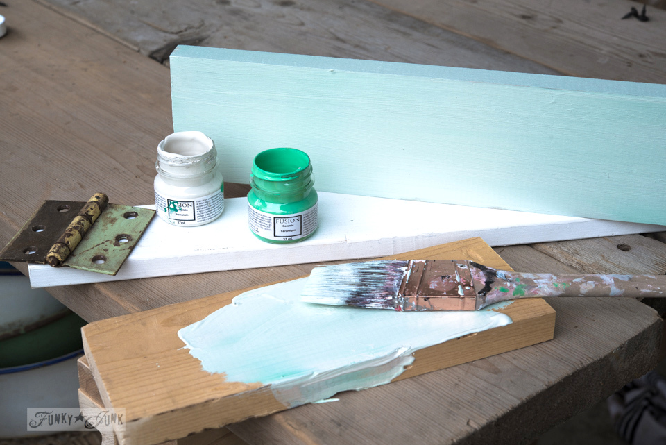 Fusion Mineral Paint on a random reclaimed wood junk drawer with dividers / FunkyJunkInteriors.net