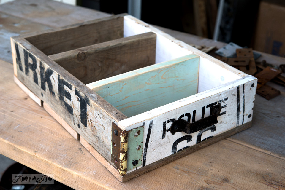 A stencilled random reclaimed wood junk drawer with dividers / FunkyJunkInteriors.net